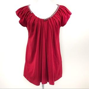 Joan Vass red tunic chain neckline pleated front